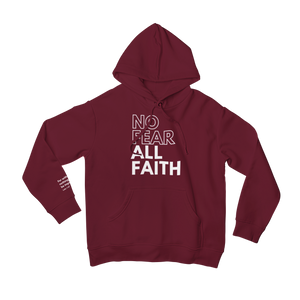 Burgundy No Fear Scripture Hoodie