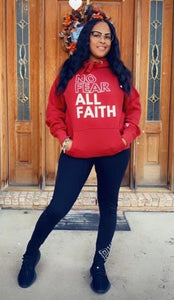Red No Fear Scripture Hoodie