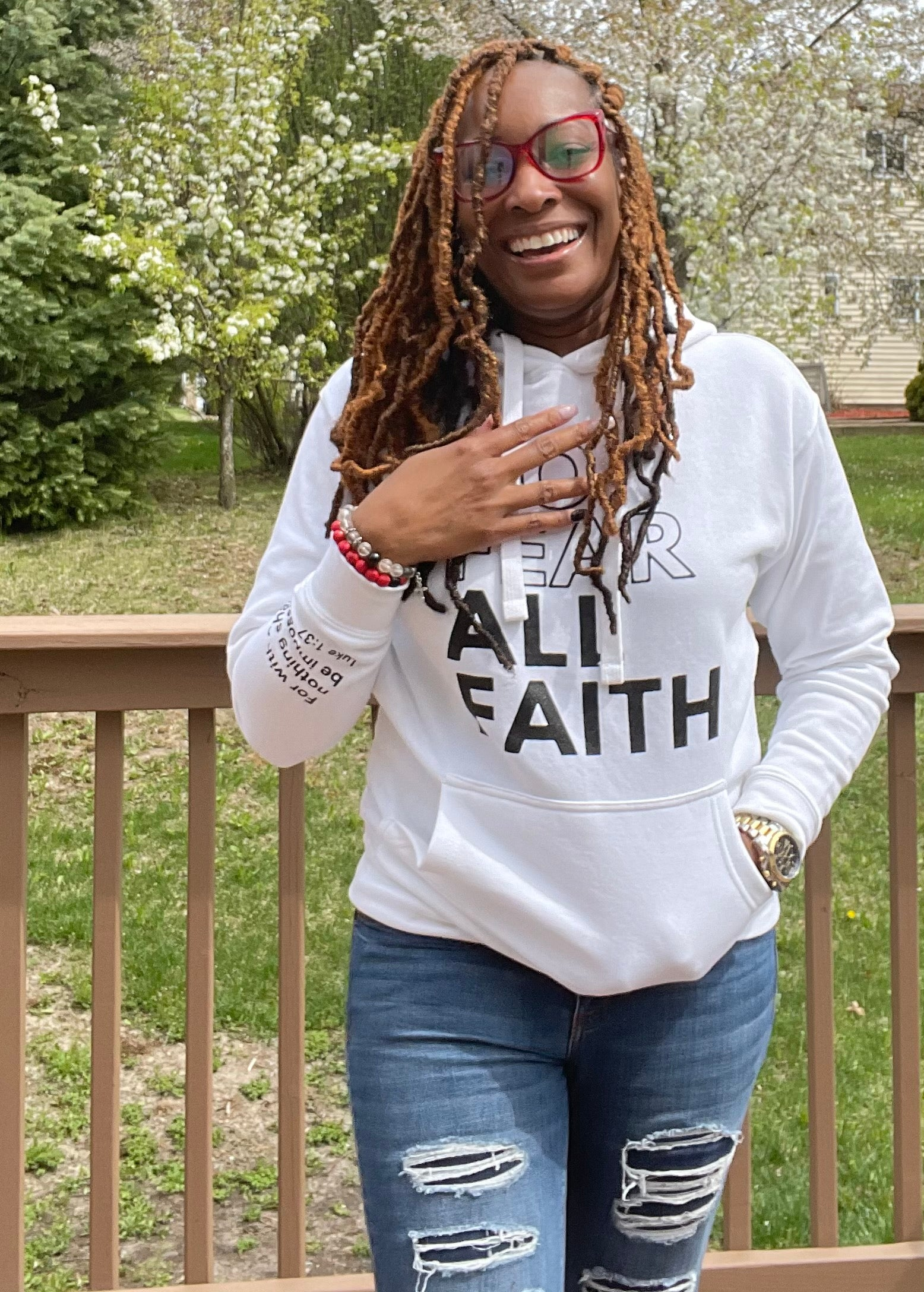 White No Fear Scripture Hoodie