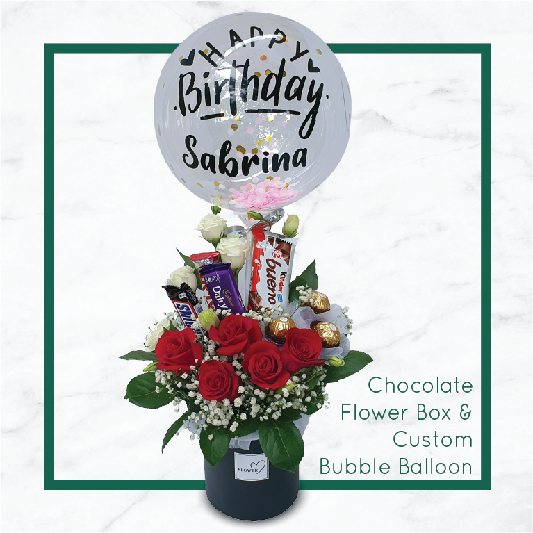 Chocolate Flower Box & Custom Bubble Balloon