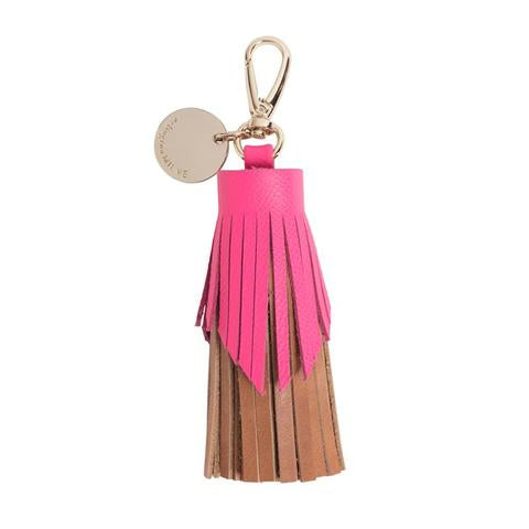 pink, tan, leather, tassel, bag charm, key ring, arlington milne