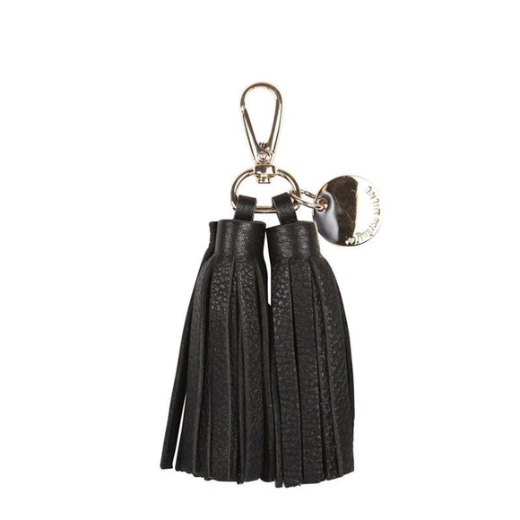 Double Leather Tassel Key Ring (Black)