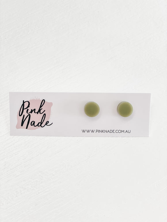 pink nade, earrings, studs, pippa studs, olive, green