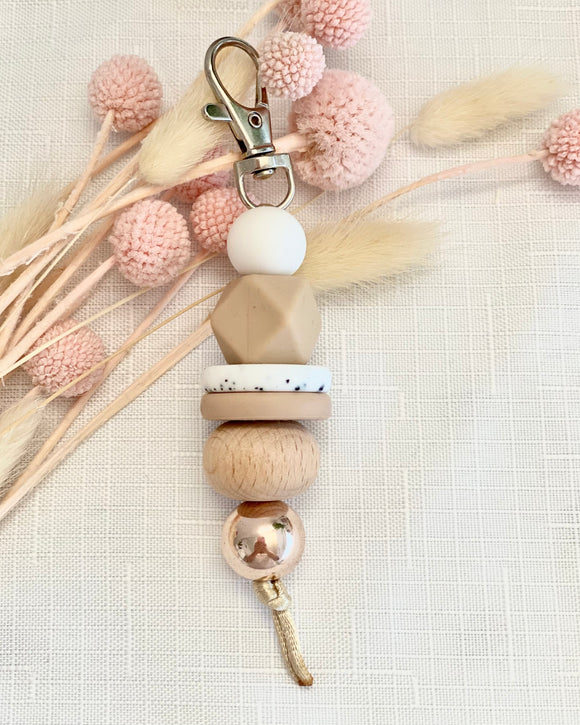 Beaded Key Ring (Neutrals)