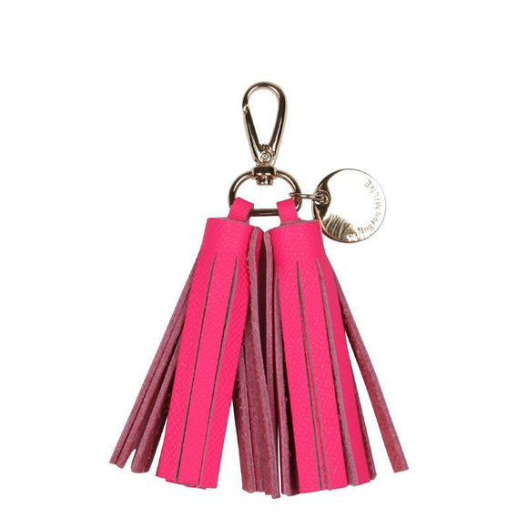 Double Leather Tassel Key Ring (Pink)