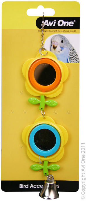 Avi One Bird Toy Double Buttercup Mirror