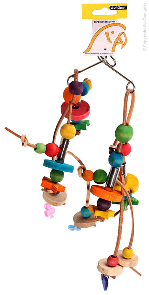 AVI ONE BIRD TOY WOODEN BEADS WITH LEATHER 20X31
