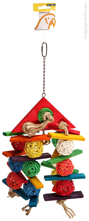 AVI ONE BIRD TOY WICKER BALLS WITH WOOD TRIANGLE