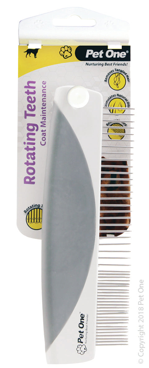 Pet One Grooming Comb With Rotating Teeth & Premium Handle