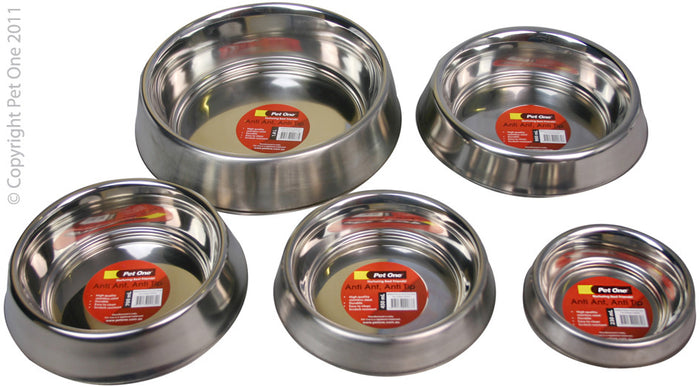 Pet One Anti Ant & Anti Tip Stainless Steel Bowls