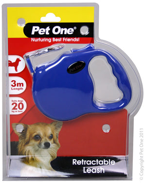 Leash Retractable 3 mtr upto 20kg Blue
