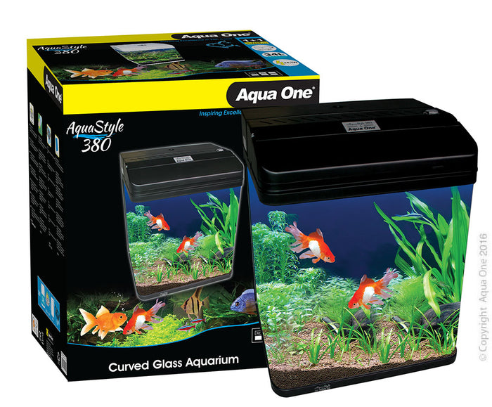 AquaStyle 380 - 34L Curved Glass Aquarium Gloss Black (In Store Only)