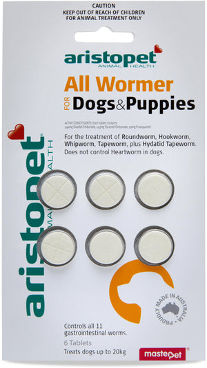 Aristopet All Wormer Tabs Dog Puppy 6 pk