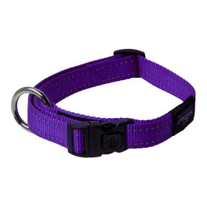 ROGZ CLASSIC DOG COLLAR - REFLECTIVE STITCHING | FANBELT / LARGE | ALL COLOURS