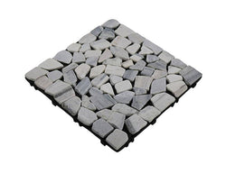 White&Grey Matt Washed Mosaic Natural Marble Stone Decking Tile