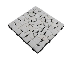 White Matt Washed Mosaic Natural Marble Stone Decking Tile