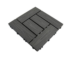 DarkGrey Woodgrain Crosshatch Composite Decking Tile