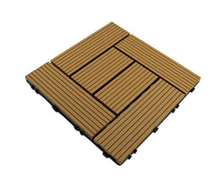 Teak Groove Crosshatch Composite Decking Tile