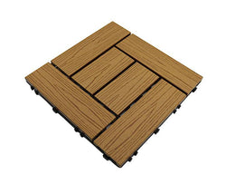 Teak Woodgrain Crosshatch Composite Decking Tile