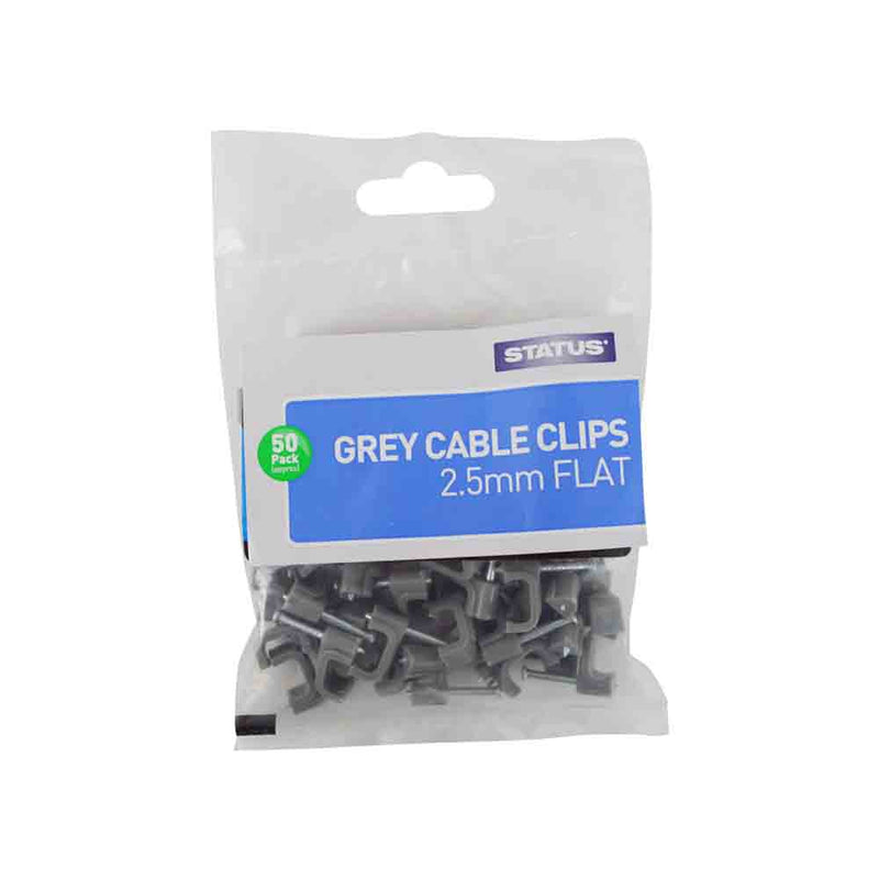 Flat Grey Cable Clips - 2.5 mm - 50 pack