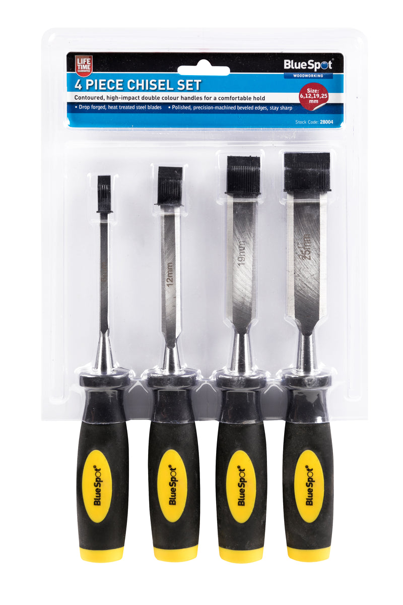4 Piece Chisel Set - 6 mm, 12 mm, 19 mm & 25 mm