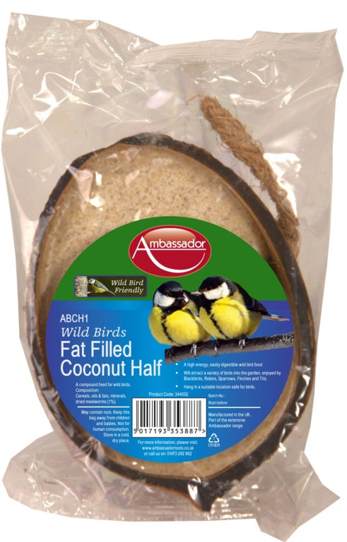 Ambassador Wild Bird Feeder Fat Filled Coconut Half