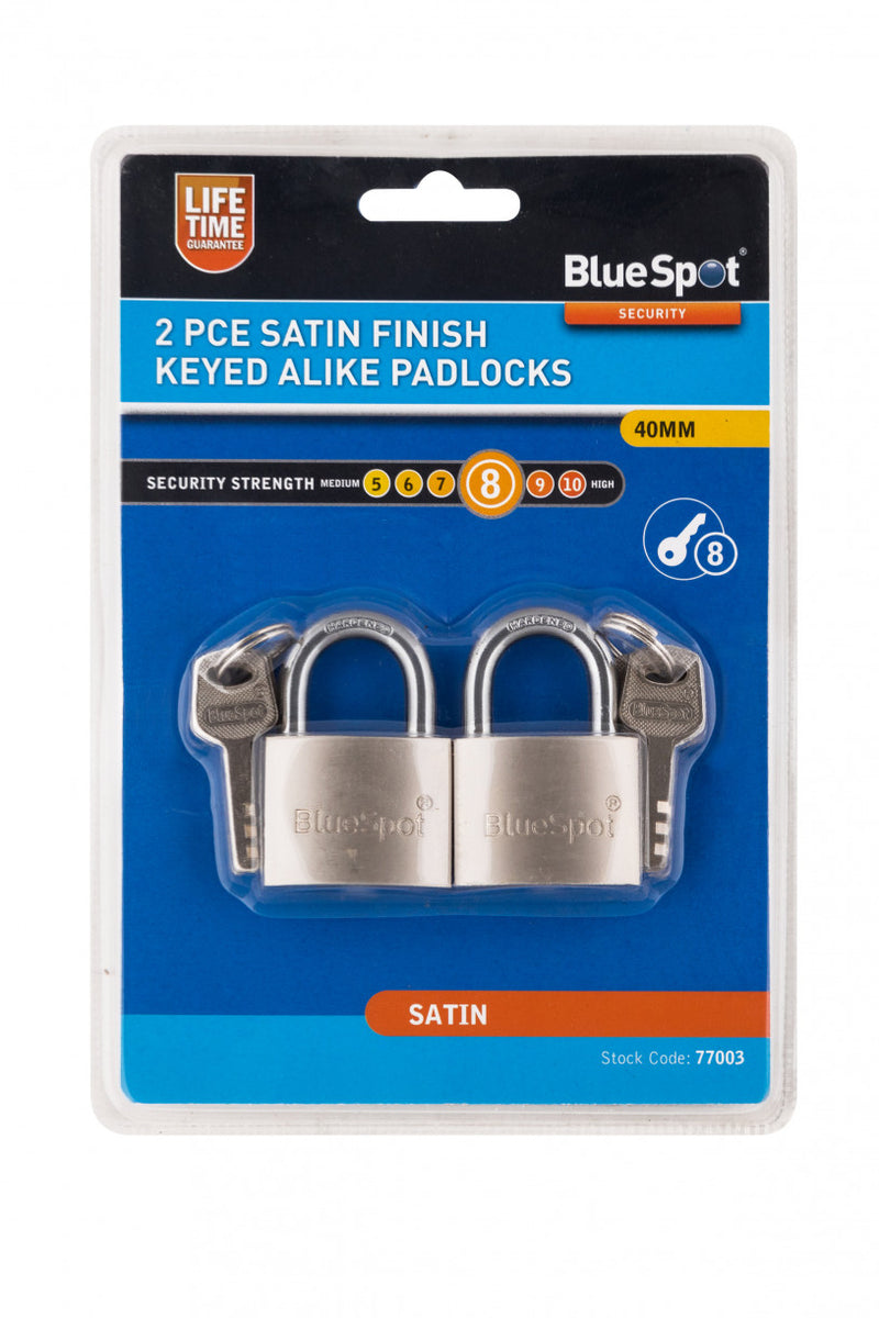 Bluespot 2 Piece Satin Finish Keyed Alike Padlocks - 40 mm