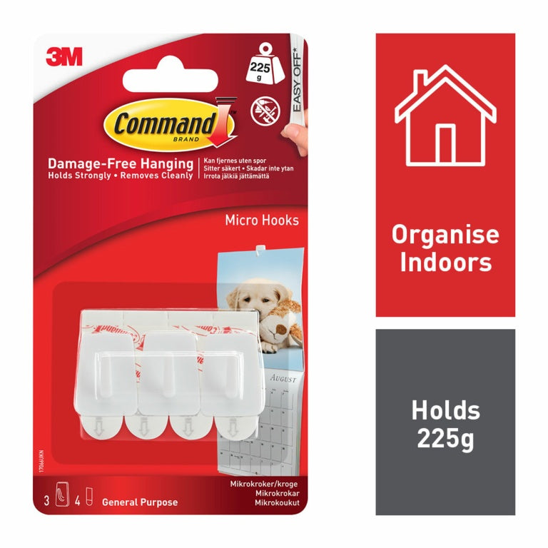 Command Brand - Micro Hooks - 225g Load Weight - 3 pack