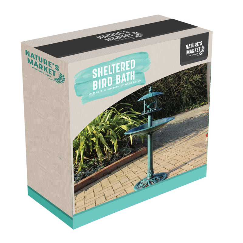 Nature's Market - Bird Bath With Sheltered Feeding Table
