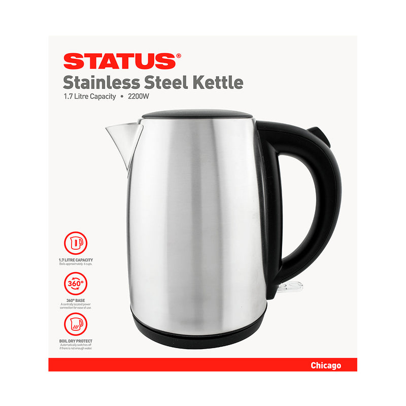 Status Chicago Stainless Steel Cordless Kettle with Swivel Base - 1.7 litre