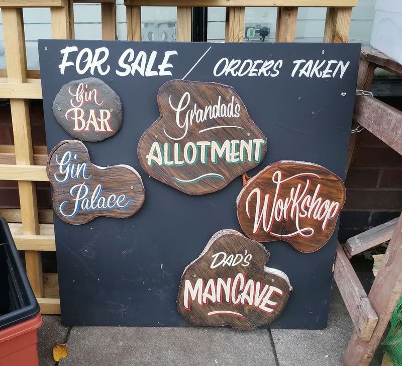 Hand Painted Wooden Signs - Gin Bar, Dad's Mancave, Workshop, Grandads Allotment