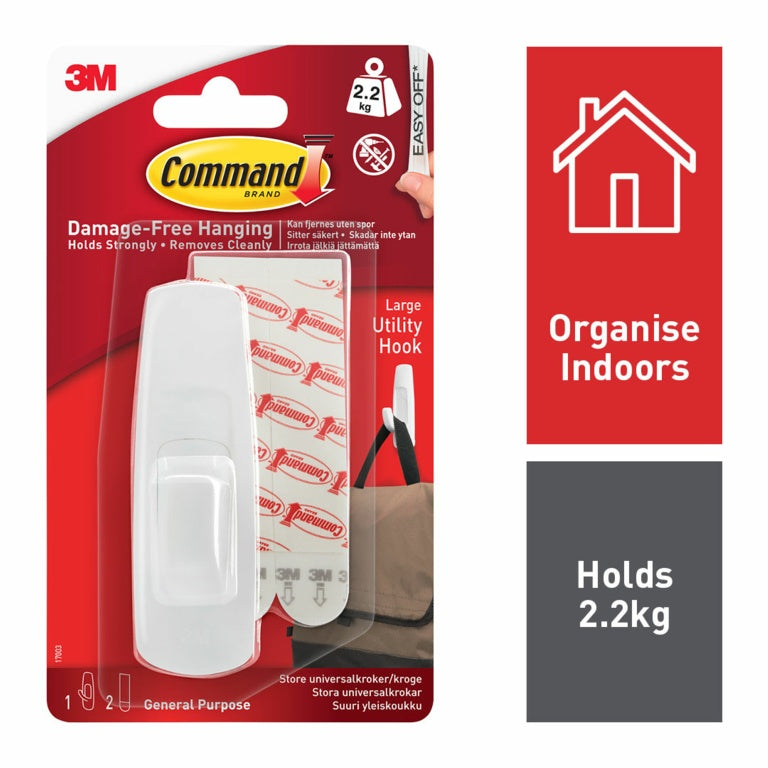 Command - Large Utility Hooks - 2.2 kg Load Weight - 1 pack