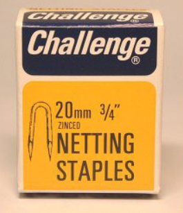 "Zinced Netting Staples - 15 mm (5/8""), 20 mm (3/4"") & 25 mm (1"") - 40g pack"