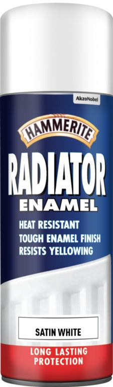 Hammerite - Radiator Enamel Spray Paint - Satin White - 400 ml (LOCAL PICKUP / DELIVERY ONLY)