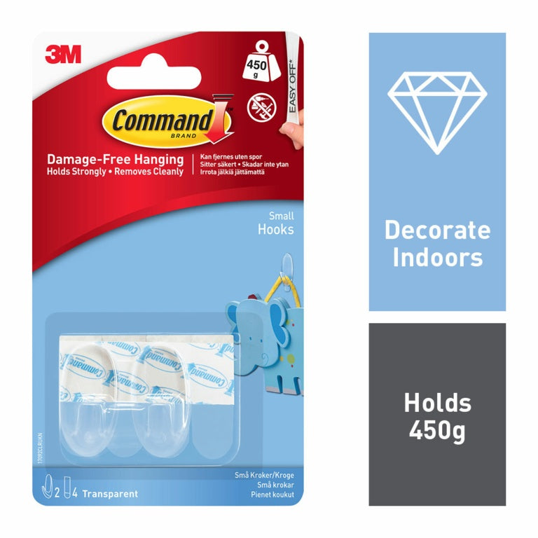 Command Brand - Small Hooks - 450g Load Weight - 2 pack