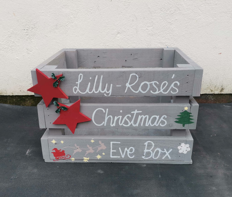 "Reclaimed Wooden Christmas Eve Boxes - L400mm (16"") x W360mm (14"") x H250mm (10"") - Personalised or Undecorated (LOCAL PICKUP / DELIVERY ONLY)"