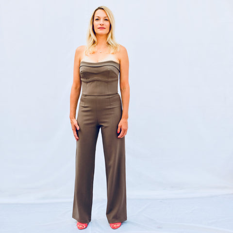 Cocktail strapless grey jumpsuit (front photo)