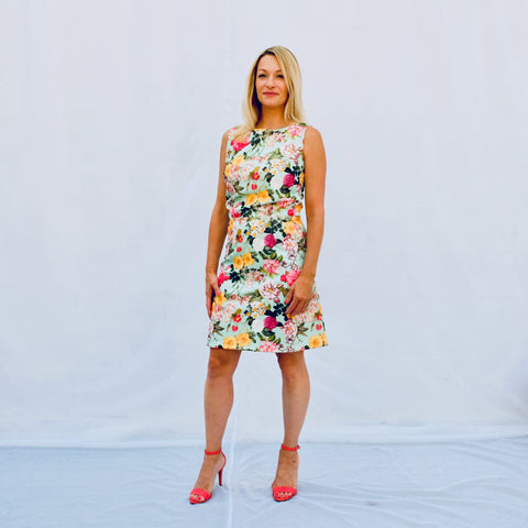 Sleeveless floral print short dress with boat neck (front view)