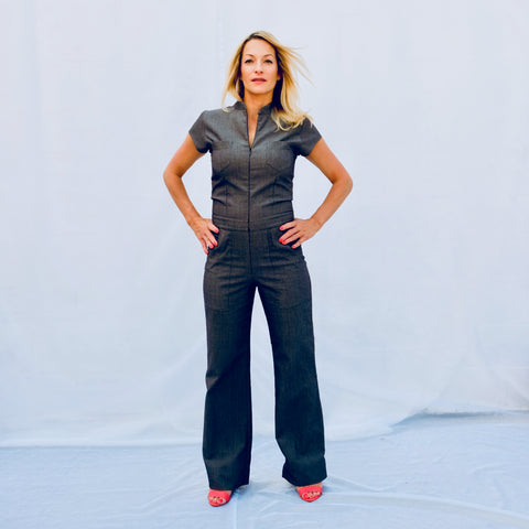 Full length cap sleeve jumpsuit with 4 front pockets (front view)