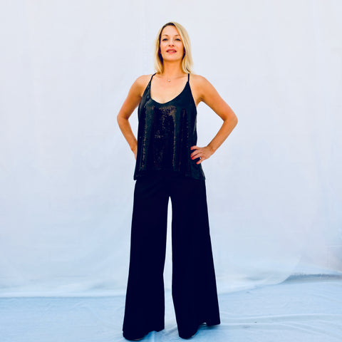 Black Palazzo wide leg satin pant (front view)