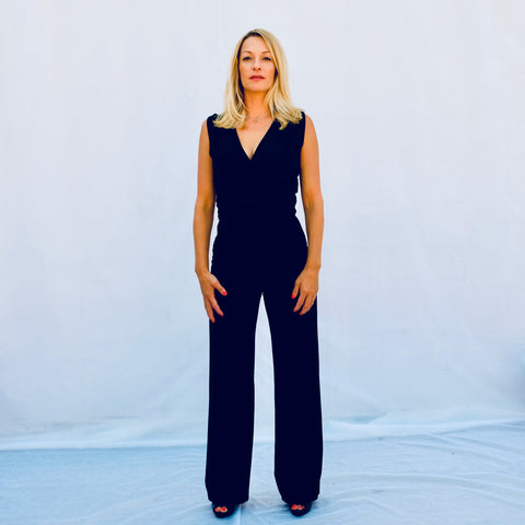 Black Full Length Sleeveless Jumpsuit (Front View)