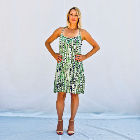 Green/White/Black Jersey Print casual a-line dress cut above the knee (front view)