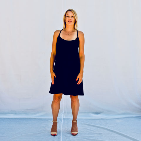 Black casual a-line tank dress cut above the knees (front view)