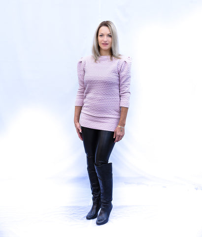 Princess 3/4 sleeve pink sweater with boat neck and long body.