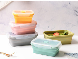 Set of 4 Collapsible Silicone Food Storage Container, Leftover Meal box For Kitchen, Bento Lunch Boxes, BPA Free, Microwave, Dishwasher and Freezer Safe. Foldable Thin Bin Design Saves Your Space