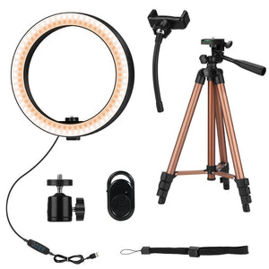 "10"" LED Selfie Ring Light Kit With Tripod Phone Camera Photography Backdrop Curtain For Live Stream Makeup YouTube Video"