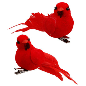 10Pcs Cardinal Birds Christmas Tree Ornament Red Feathers Artificial Birds Decorations