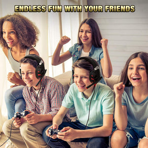 Headset with 7.1 Surround Sound, PS4 Headset with Noise Canceling Mic & LED Light, Compatible with PC, PS4, Xbox One Controller(Adapter Not Included)