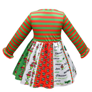 Grinch Printed Long Sleeve Dress Christmas Party Costume For Girls