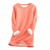 Thick Fleece Underwear O-neck Sweatshirt Velvet Warm Slim Sweatshirts Casual Blouse Lady Top